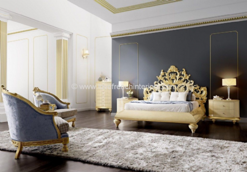 Venezia Bedroom Collection with Carved Headboard